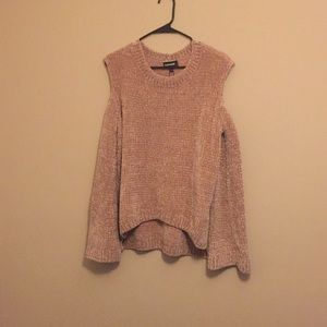 Pink with good sparkle chenille cold shoulder top